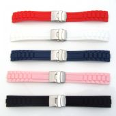 Silicone Rubber Watch Strap Band with Deployment Clasp Waterproof